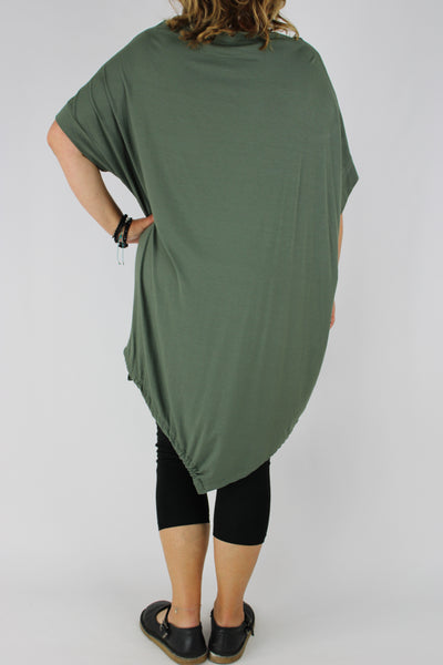 Tunic Top Short Sleeves Asymmetric Hem Slash Neck in Khaki Size 14 16 18 20 22