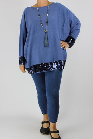 Cosy Long Sleeve Stretchy Jumper Top Knitted Sequin Detail in Denim Plus Size 16 18 20 22 24
