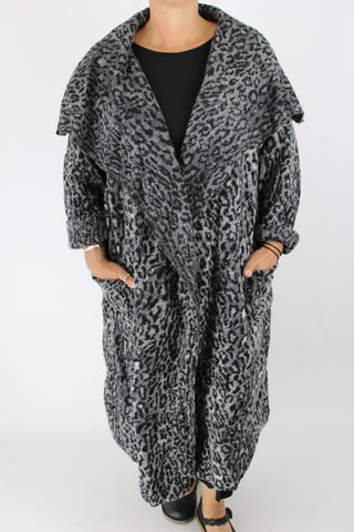 Wool Blend Coat Animal Print Waterfall Front Pockets One Size 14 16 18 20 22 In Black/Grey