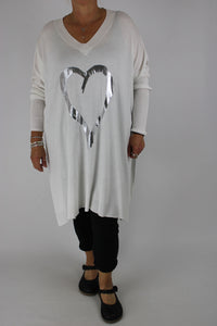 Made in Italy Heart Jumper Top Tunic in White Size 12 14 16 18 20 22 24