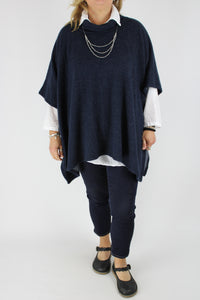 Made in Italy Over Top Poncho Style Cosy OSFA in Navy