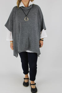 Made in Italy Over Top Poncho Style Cosy OSFA in Grey