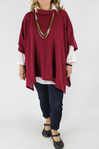 Made in Italy Over Top Poncho Style Cosy OSFA in Burgundy