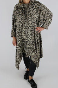 Made in Italy Cotton Top Tunic Leopard Print in Mocha Size 14 16 18 20 22 24 26 28