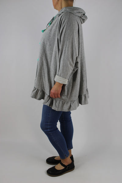 Made in Italy Oversized Cotton Hooded Top Frill Plus Size 12 14 16 18 20 22 24 in Light Grey