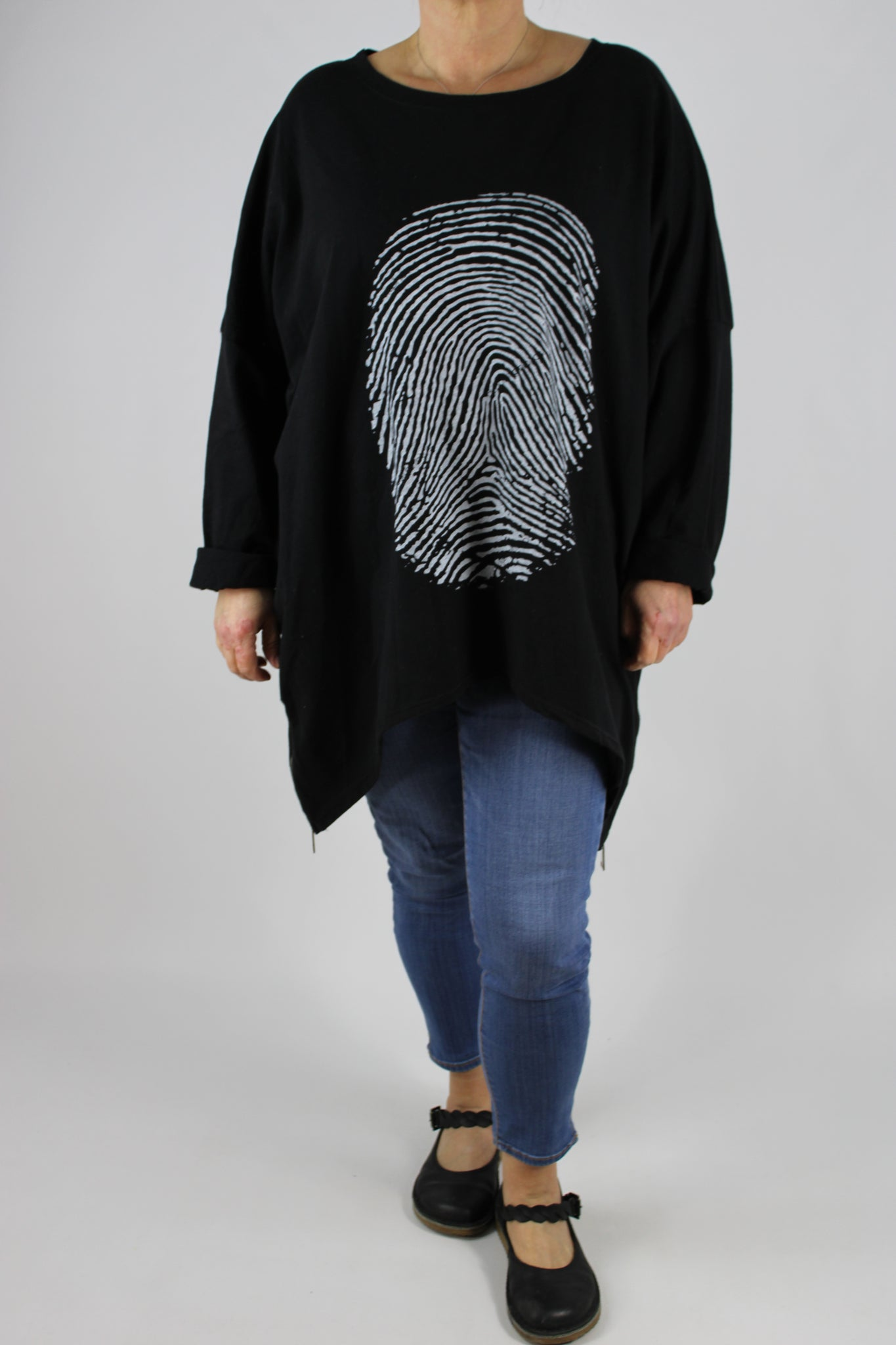 Italian Cotton Top Tunic Finger Print Print Plus Size 16 18 20 22 24 26 in Black