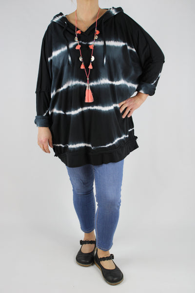 Made in Italy Tie Dye V-Neck Hooded Top Tunic Plus Size 16 18 20 22 24 in Black