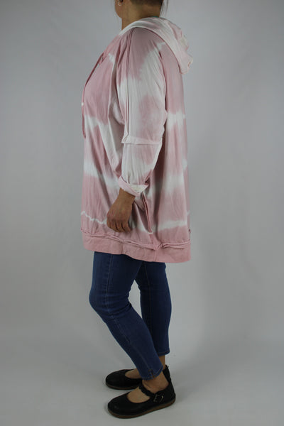 Made in Italy Tie Dye V-Neck Hooded Top Tunic Plus Size 16 18 20 22 24 in Light Pink