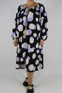 Italian Large Spots Off Shoulder Dress Tunic Size 12 14 16 18 20 in Black