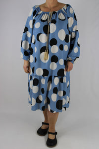 Italian Large Spots Off Shoulder Dress Tunic Size 12 14 16 18 20 in Denim