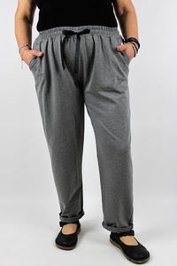 Italian Trousers Stretch Cotton Loungewear Joggers Plus Size 14 16 18 20 22 in Grey