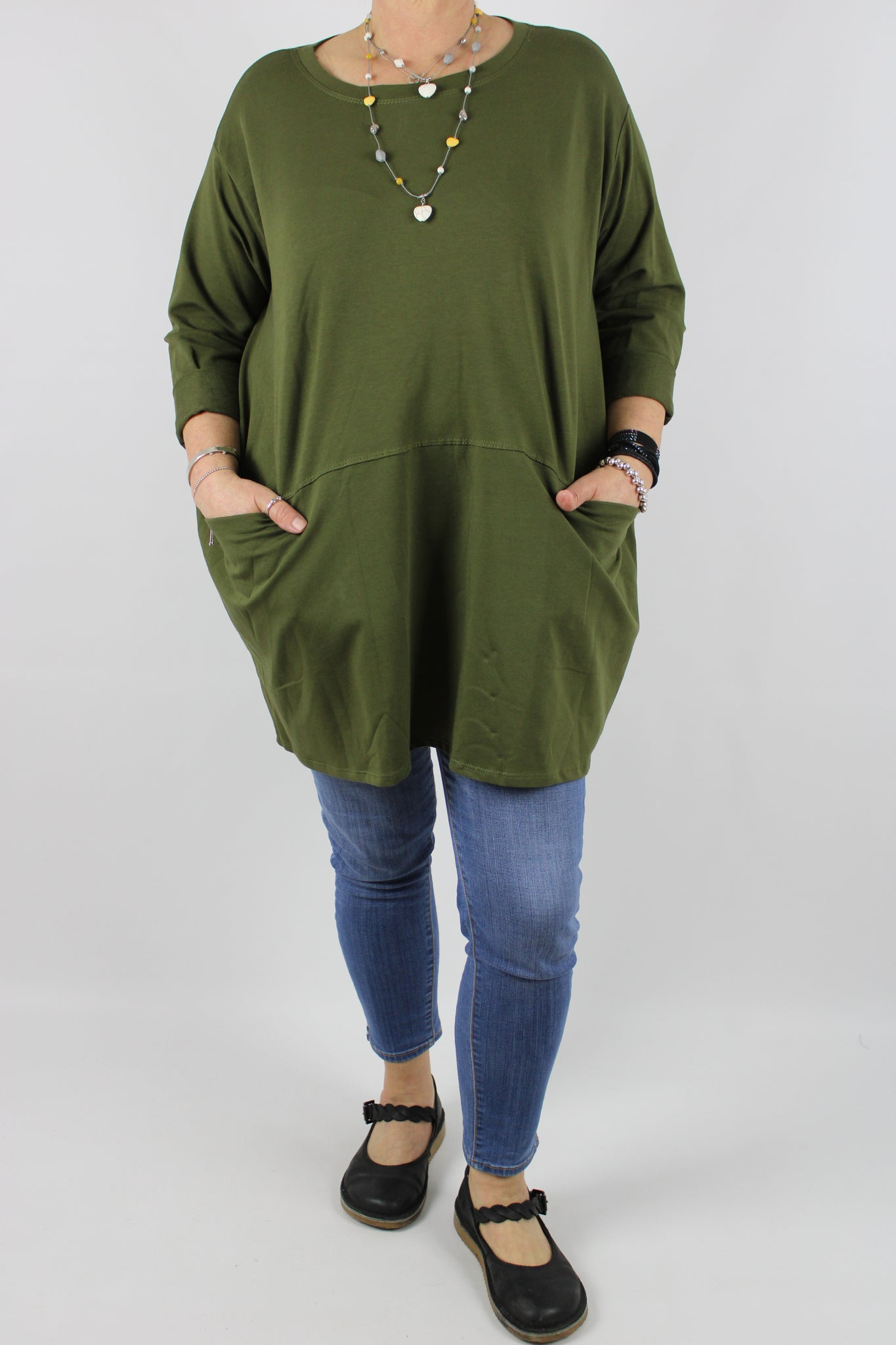 Cotton Two Pockets Top Tunic Size 12 14 16 18 20 22 in Olive Green