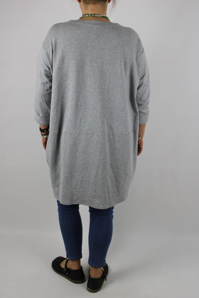 Made in Italy Cotton Two Pockets Top Tunic Size 14 16 18 20 22 in Light Grey