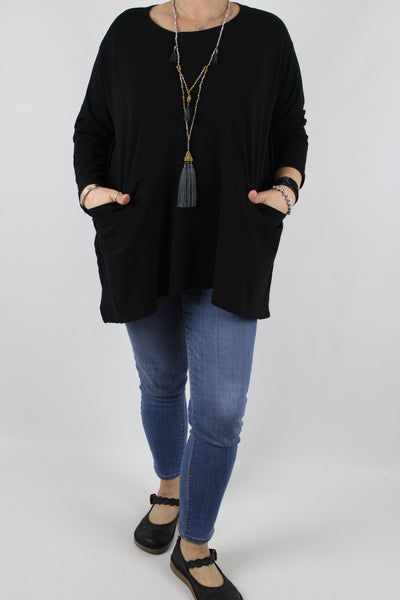 Jersey Two Pockets Top Tunic Size 14 16 18 20 22 24 in Black