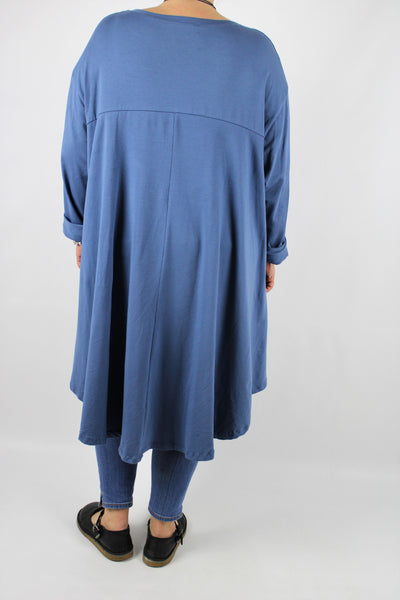 Jersey Long Sleeves High Low Hem Top Tunic Size 16 18 20 22 24 26 28 30 in Denim