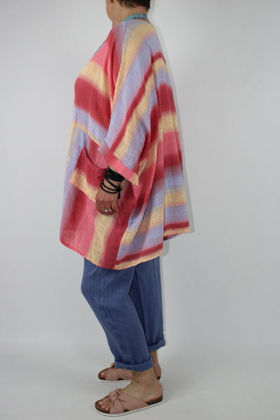 Cotton Top Poncho Style Stripes Plus Size 14 16 18 20 22 24 26 28 30 in Coral