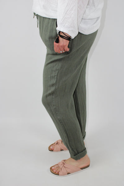 Linen Trousers High Elasticated Waist Pockets Size 12 14 16 18 20 in Olive Green