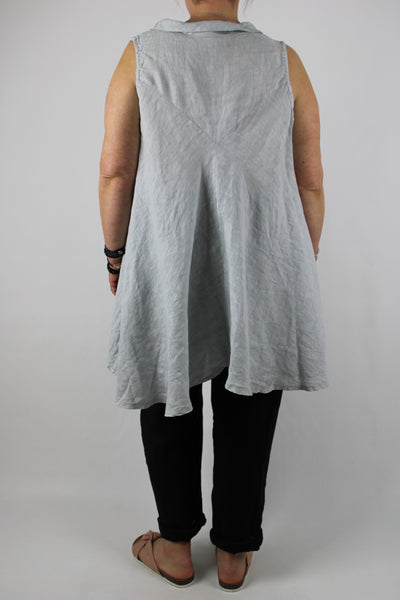 Linen Sleeveless Semi Circle Top Tunic Size 10 12 14 16 18 20 22 in Light Grey
