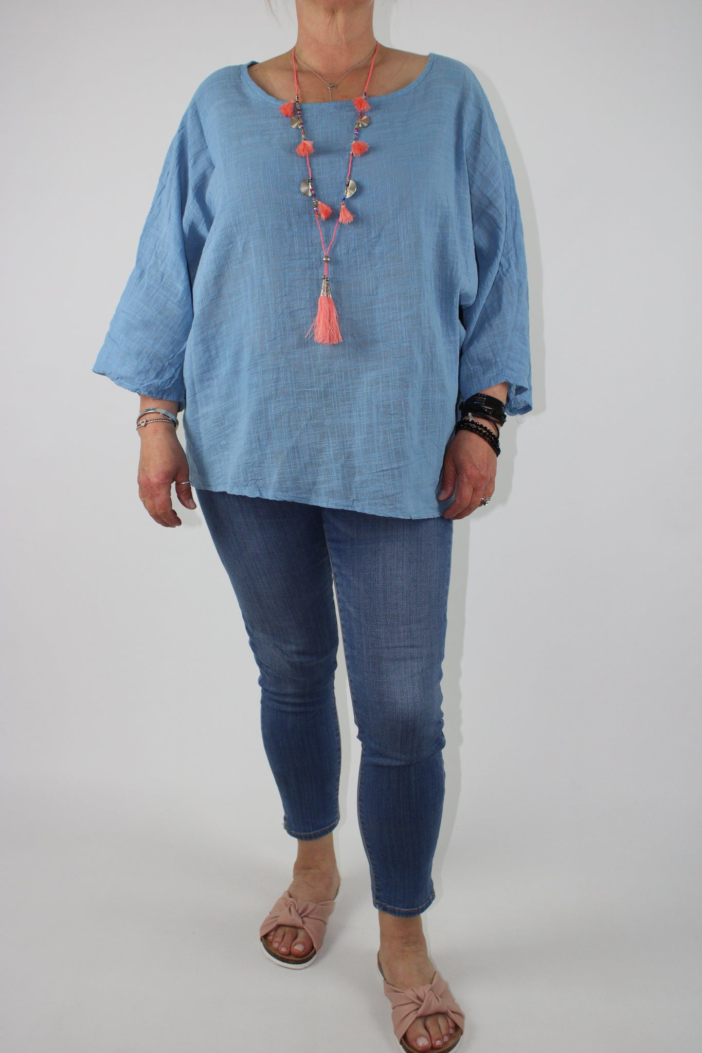 Cotton Top Lightweight Over-Top Size 10 12 14 16 18 20 in Denim Blue