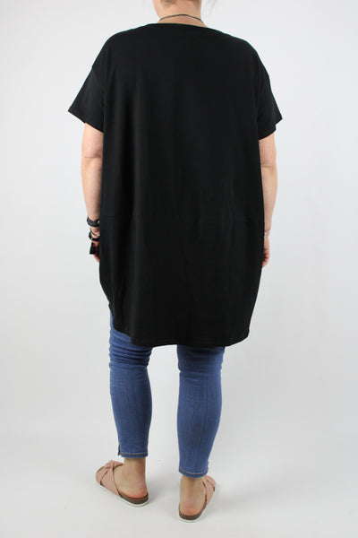 Jersey Two Pockets Top Tunic Short Sleeves Size 14 16 18 20 22 24 in Black