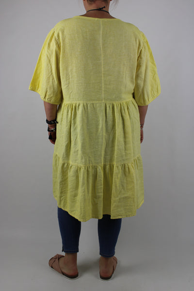 Made in Italy Washed Linen Mix Top Tunic Dress 12 14 16 18 20 22 in Yellow