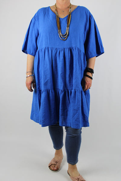 Made in Italy Washed Linen Mix Top Tunic Dress 12 14 16 18 20 22 in Royal Blue