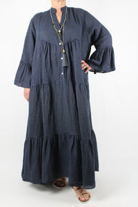 Linen V Neck Long Dress Size 16 18 20 22 24 in Navy Blue