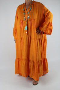 Linen V Neck Long Dress Size 16 18 20 22 24 in Orange