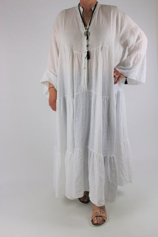 Linen V Neck Long Dress Size 16 18 20 22 24 in White