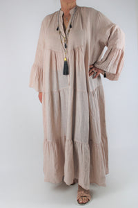 Linen V Neck Long Dress Size 16 18 20 22 24 in Light Pink