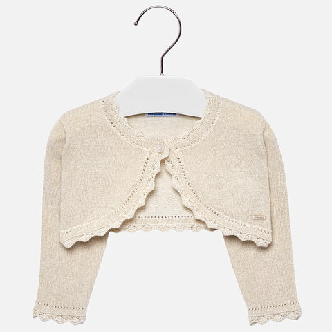 Mayoral Baby Girl Basic Knitted Cardigan: Champagne