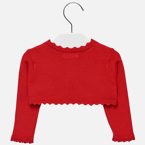 Mayoral Baby Girl Basic Knitted Cardigan: Red