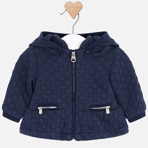 Mayoral Newborn Baby Girl Hooded Coat: Deep Blue
