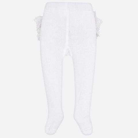9d63c6bbc0364 Mayoral Newborn Baby Girl tights: White Flounces ...