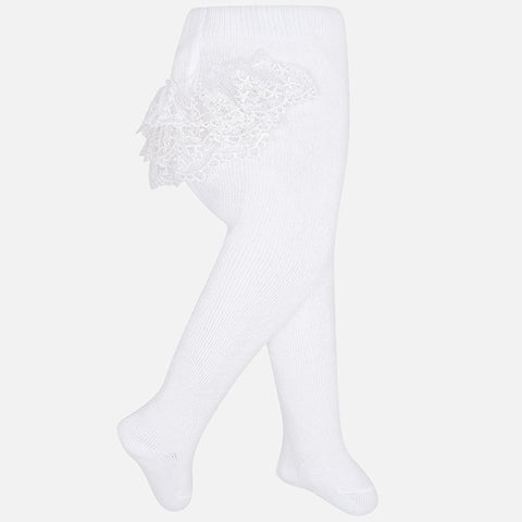Mayoral Newborn Baby Girl tights: White Flounces