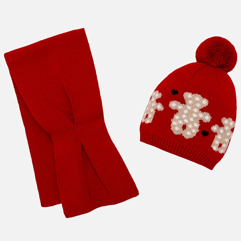 Mayoral Baby Red Teddy Hat Scarf Set