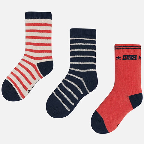 Mayoral 3-Piece Striped Sock Set Apricot