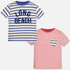 Mayoral Baby Boy, 2 Pack Short Sleeve Striped T-Shirts