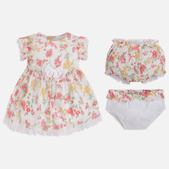 Mayoral Baby girl dress with knickers and hat