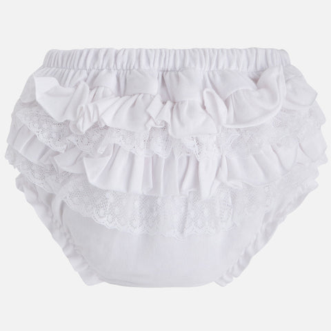 Mayoral Newborn baby girl knickers / nappy cover with bow, 'white'