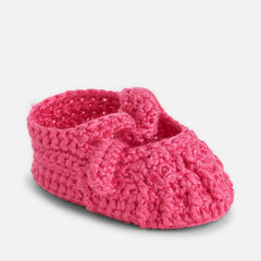 Mayoral Newborn baby girl knit booties, azalea pink