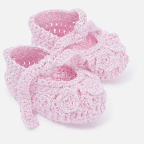 Mayoral Newborn baby girl knit booties, baby pink
