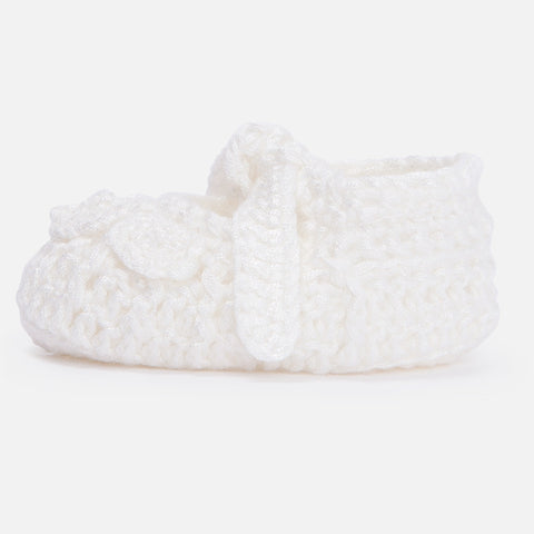 Mayoral Newborn baby girl knit booties, natural