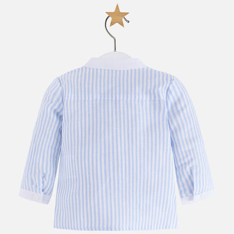 Mayoral, Newborn Boys, Long Sleeve Linen Shirt, Sky Blue