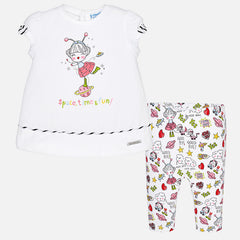 Mayoral, Baby Girls, Cropped Leggings Set With T-Shirt, Bubblegum
