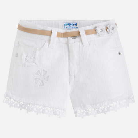 Mayoral, Girls, Shorts With Applique & Belt, White