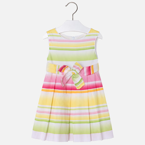 Mayoral, Girls Satin Dress With Pleats, Yellow