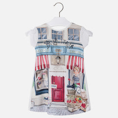 Mayoral, Girls Crepe Dress with Pleated Back Lining, Off White