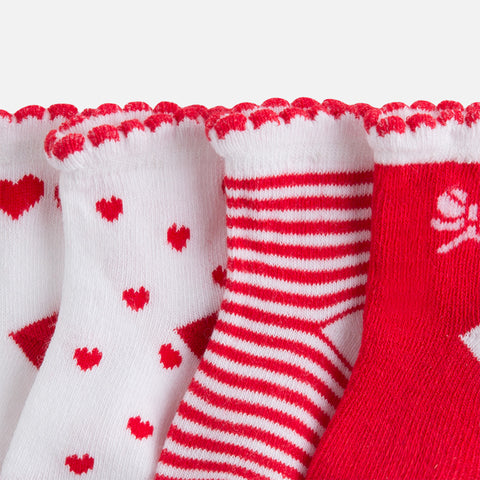 Mayoral, Newborn Girls, Set of 4 Pairs of Socks, Red