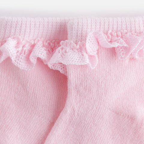 Mayoral, Newborn Girls, Formal Frilly Socks, Pink